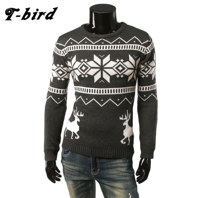 Daily Price $13.53, Buy T-Bird Brand Clothing Men 2017 Fashion Sweater Simple Fawn Print O-Neck Slim Fit Casual Pullover Men Sweaters Knitting Mens XXL