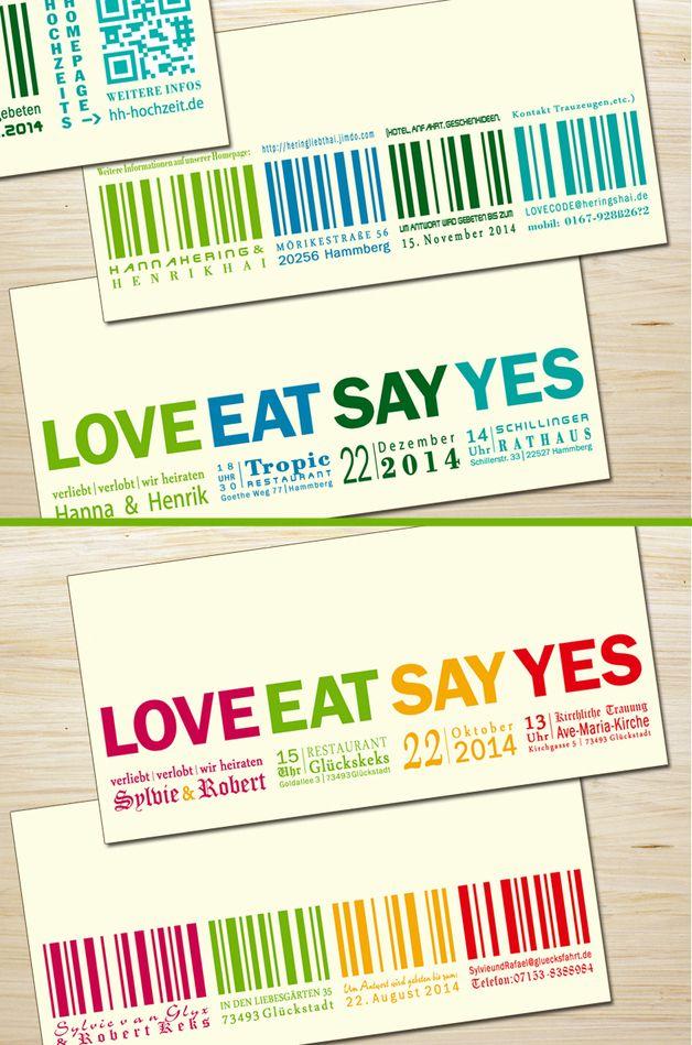 Einladungskarten - Einladung Hochzeit Love... - ein Designerstück von zelka bei DaWanda