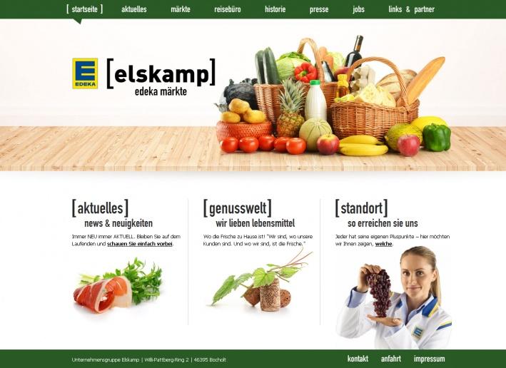 """Die Website der Elskamp-Märkte, Bocholt, präsentiert die Geschäfte als Teil der EDEKA-Gruppe und unterstreicht doch ihre individuelle Eigenständigkeit. Dementsprechend spiegelt die Website Frische und Qualität des Angebots genau so wider wie die Familiengeschichte der Elskamps. Die Website hat den Designpreis """"IMA Award 2012"""" in der Kategorie """"Lebensmittel/Getränke"""" gewonnen."""