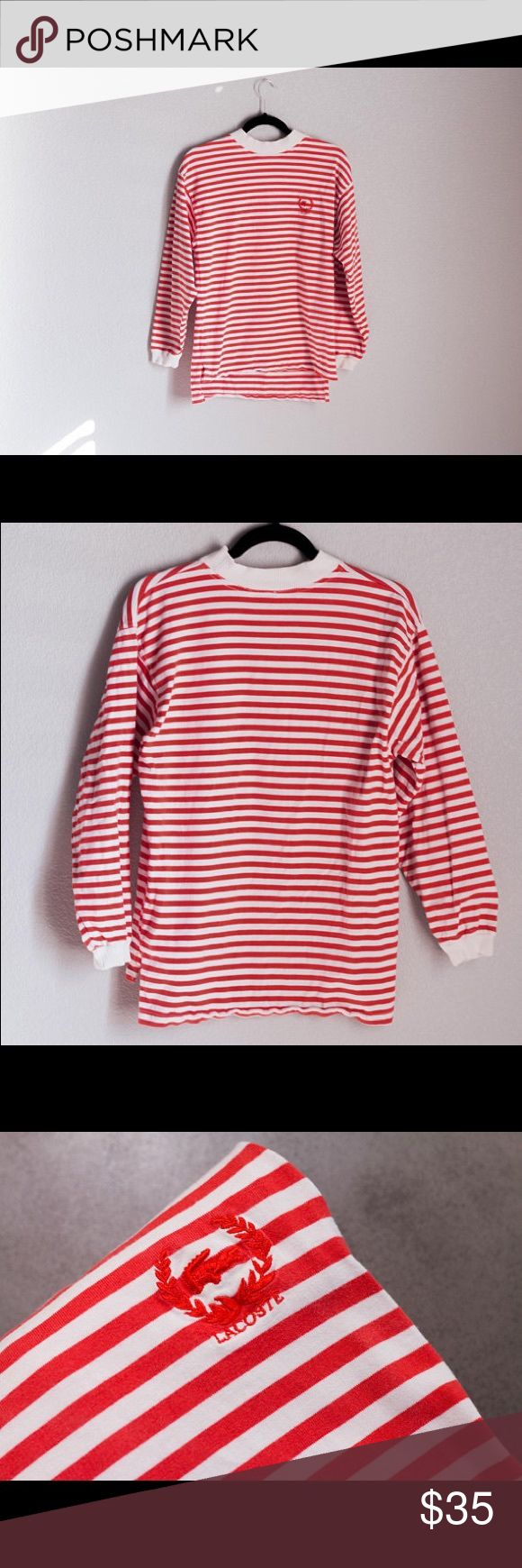 90s IZOD LACOSTE Striped Pullover Sweater Top 90s Vintage IZOD LACOSTE Long Sleeve Pullover Sweater Top w Red and White Stripes | #Urban #Streetwear  Size: Small - Medium (Slim)  Condition: Staining by sleeve, please see last photo. Otherwise, good/fair condition. Lacoste Sweaters Crewneck