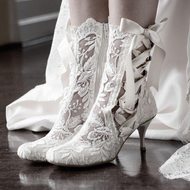 Lotti Elliot White Lace Ankle Vintage Wedding Boot