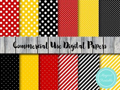 dp133 mickey-mouse-digital-papers-minnie-mouse-clubhouse