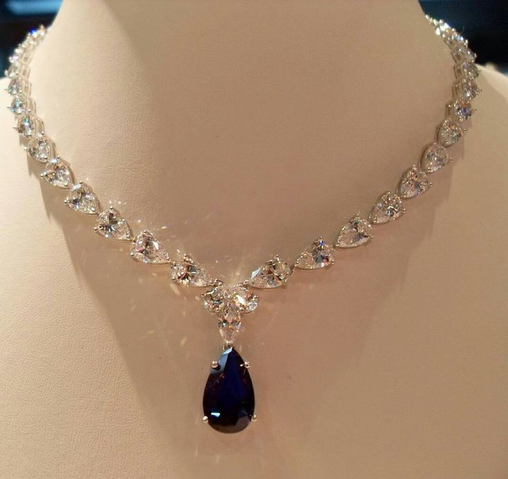 @mariigem. Amazing necklace by ciribelli monaco diamonds sapphire white gold