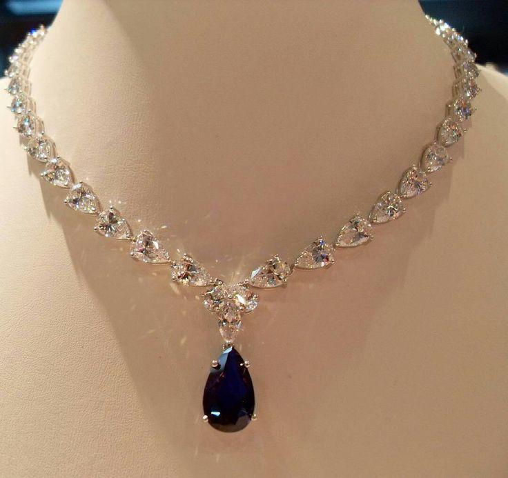 @mariigem. Amazing necklace by ciribelli monaco diamonds sapphire white gold