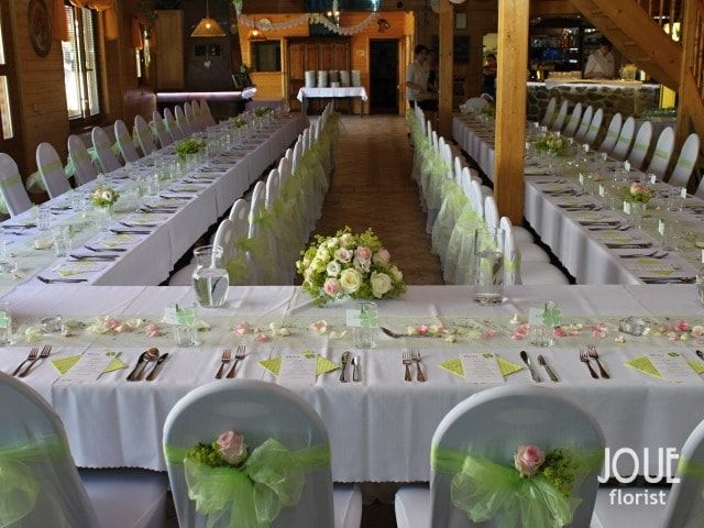 Green wedding with pink, white and yellow flowers, table decoration #11