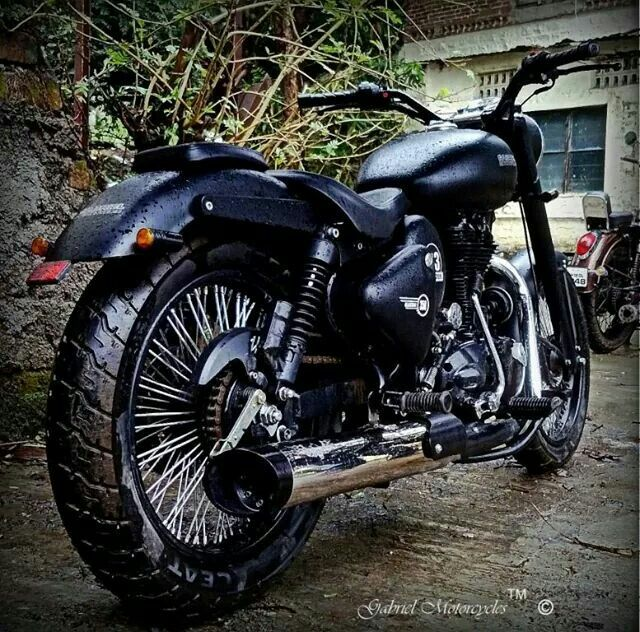 Royal Enfield Classic 350 customized with a stainless steel exhaust , tail lamp, turn indicators, multi spoke Wheel rims made inhouse by Gabriel Motorcycles Pune