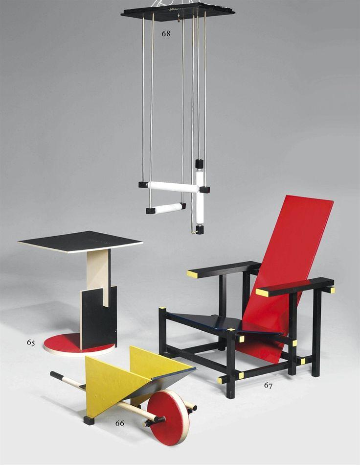 Diverse meubels van Gerrit Rietveld. De stoel is van 1918. De vormen zijn geometrisch en Rietveld heeft de basiskleuren (primaire kleuren) gebruikt. De stijl = De Stijl.