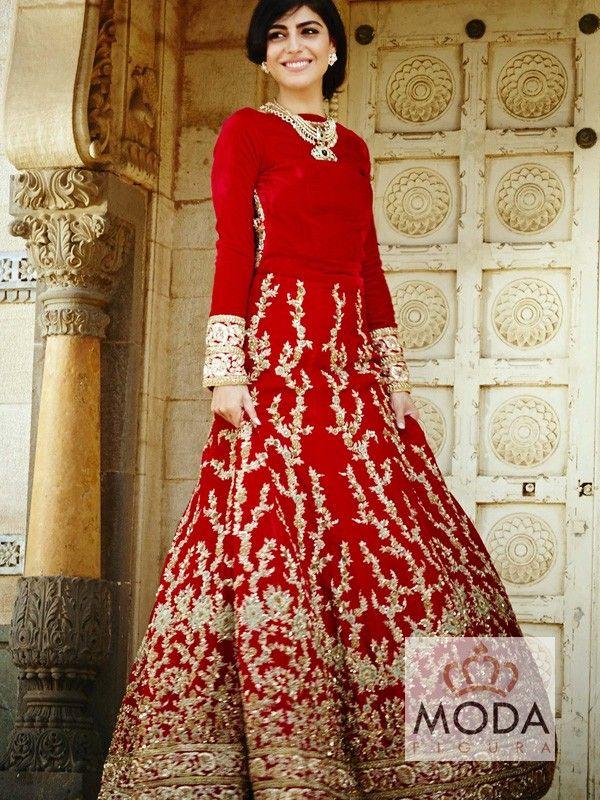 Deep red velvet dress for South Indian wedding. Heavy embellished Indo-pak bridal dress.