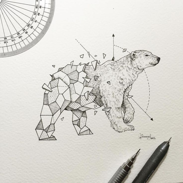 Geometric Beasts | Polar Bear by kerbyrosanes