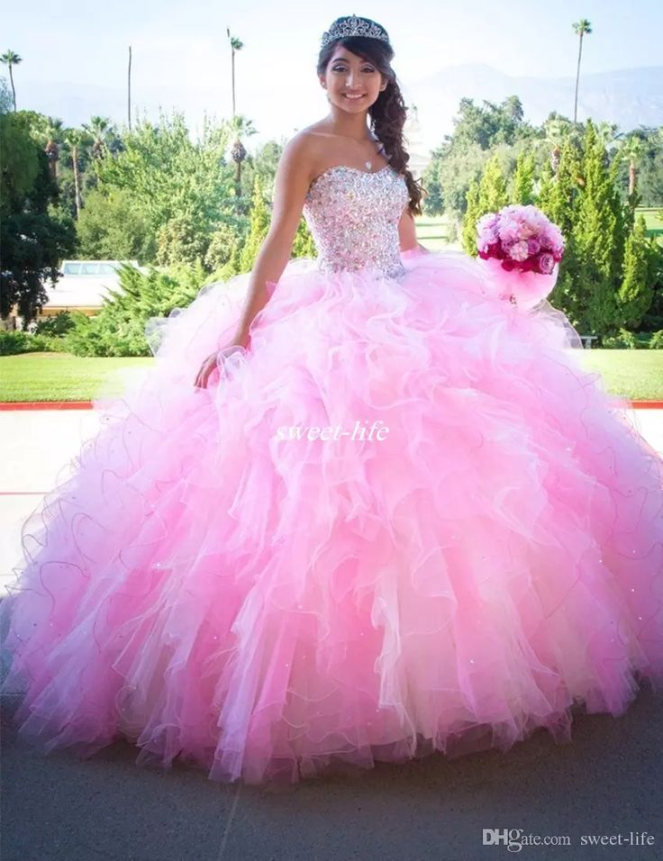 Elegant Pink Quinceanera Dresses Ball Gown Ruffles Tulle Beading Sequins Lace Up 2017 Plus Size Debutantes Sweet 16 Party Prom Gowns Custom Quinceanera Dresses Cheap Prom Dresses Online with $164.0/Piece on Sweet-life's Store | DHgate.com