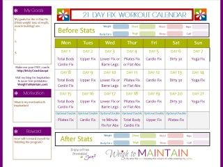 21 Day Fix Workout Schedule � Free PDF Download