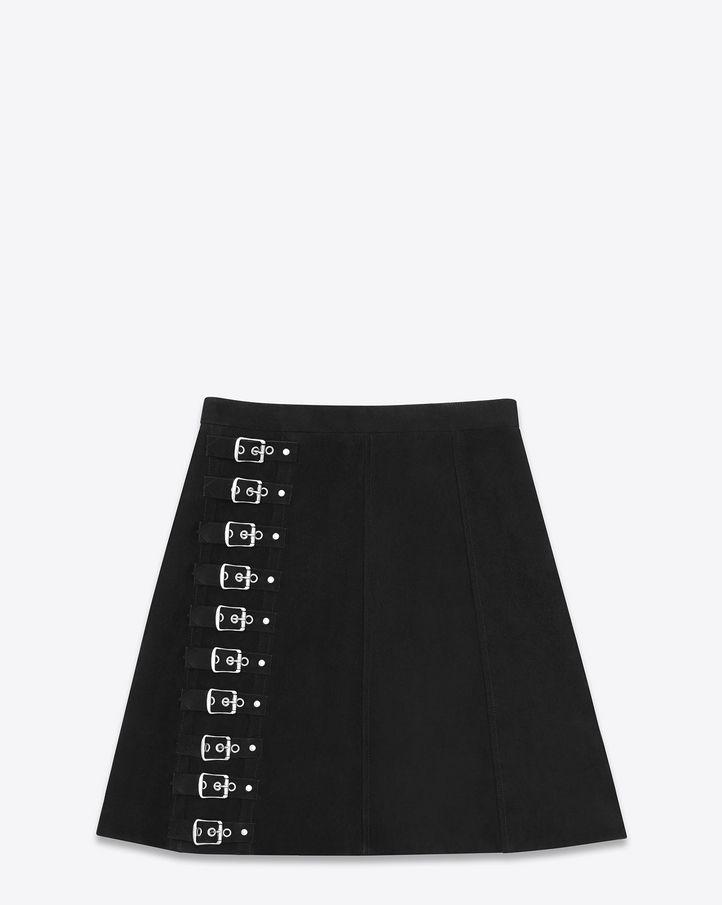 saintlaurent, Buckled Trapèze mini skirt in Black Suede