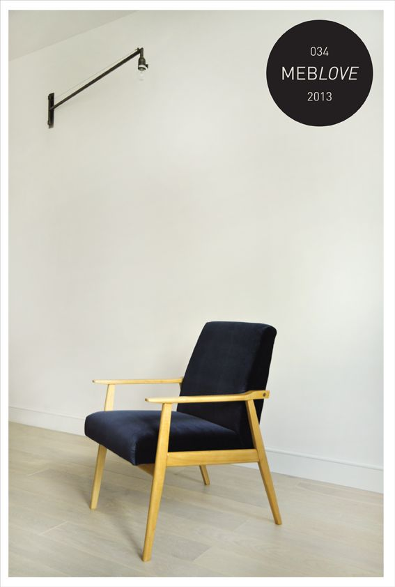 meblove, vintage armchair, velvet, navy blue, design, polish design,