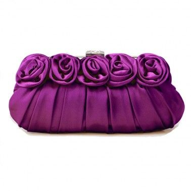Satin Purple Clutch Bags Snap Closure(28Lx4Wx13.5H)CM