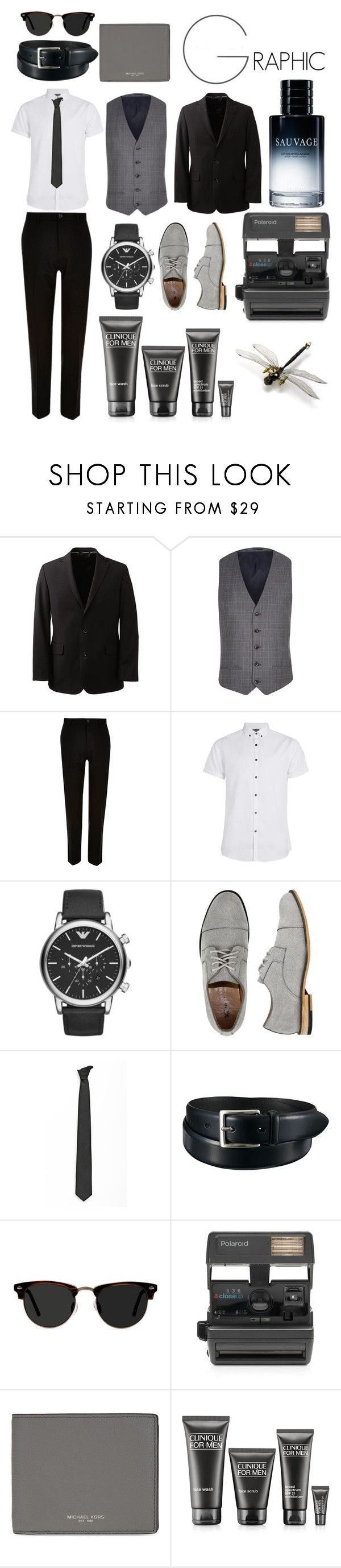 """""""Smart dress code #1"""" by oliviaa-maay ❤ liked on Polyvore featuring Lands' End, River Island, Topman, Emporio Armani, X-Ray, Lardini, Uniqlo, Ace, Impossible and Michael Kors"""
