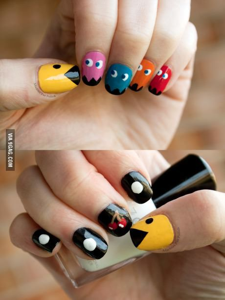 Super awesome pacman nails.  I really want to do this! But I can only on one hand...