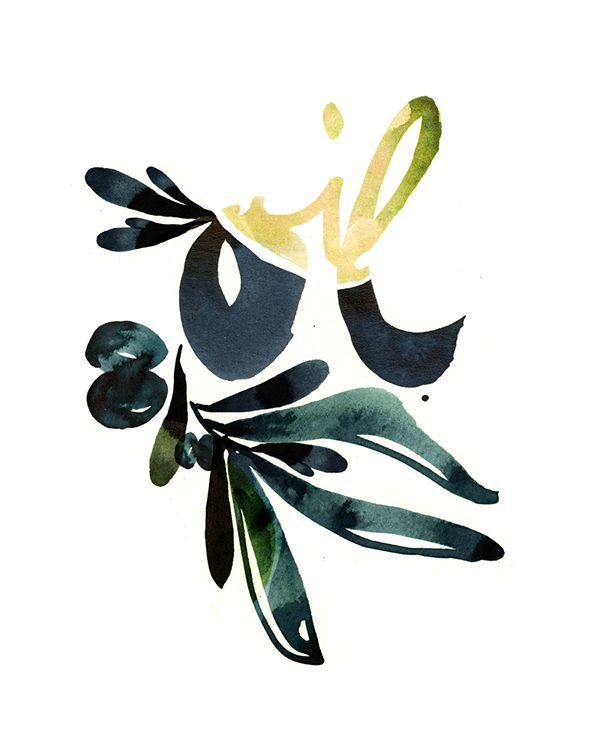 """HANDLETTERING """"Olive Oil"""" by Ekaterina Koroleva"""
