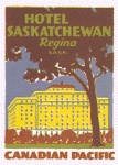 1930s Luggage Label - Canadian Pacifcana: Hotel Saskatchewan. The Radisson Plaza Hotel Saskatchewan still stands in Regina, #Saskatchewan today: http://www.radisson.com/regina-hotel-sk-s4p0s3/skregdt