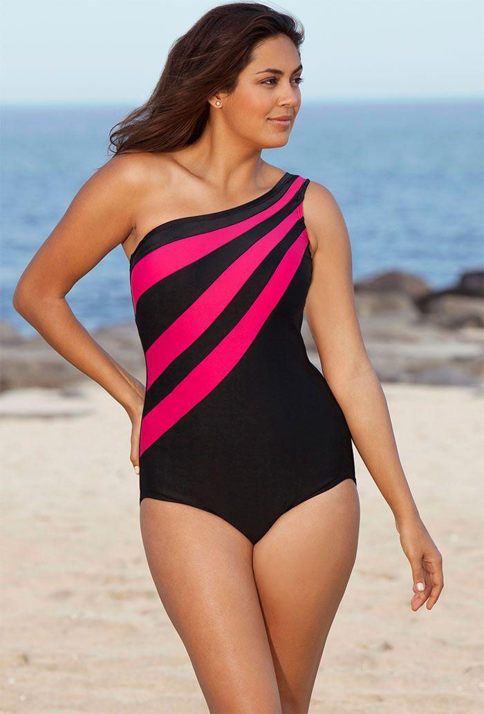 Delta Burke Pink Splice City Plus Size One Shoulder Swimsuit