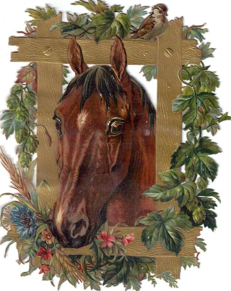 Victorian Scrap Brown Horse in Golden Gate Die Cut c1880