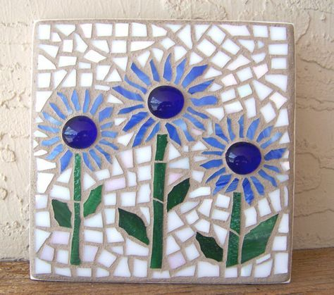 Mosaic Wall Art Mosaic Flowers Boho Decor Small by bluewaveglass