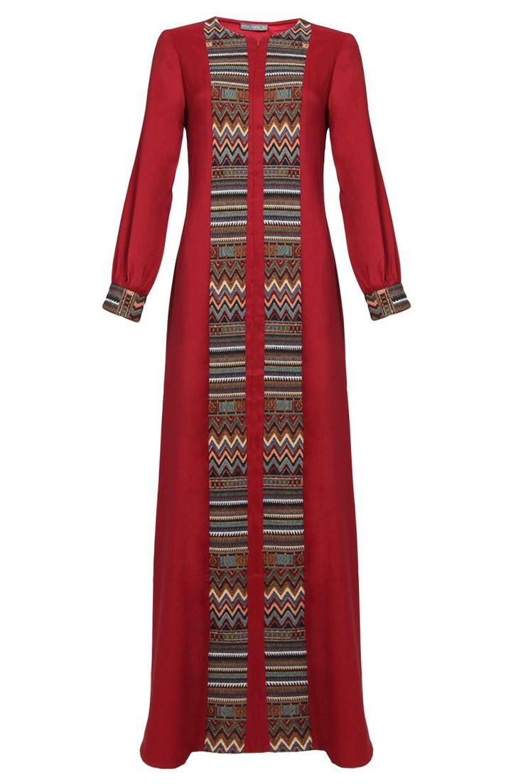 Yasmina Zip Front Embroidered Jubah Dress - Maroon