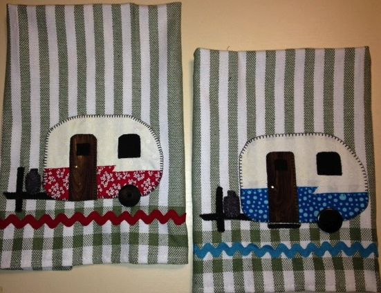 Glamping Tea Towels. Appliqe using cotton quilt fabric in retro trailer camping.  1969 Shasta trailer.