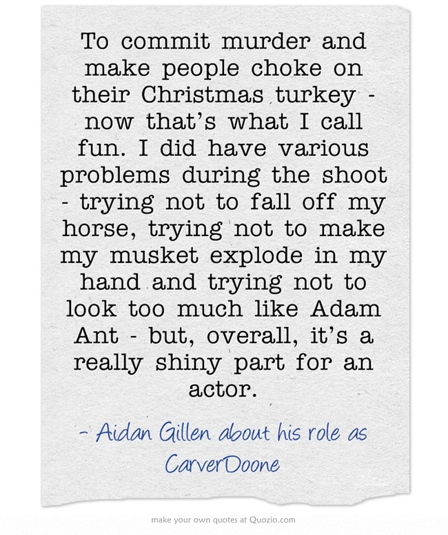 Aidan Gillen on Carver Doone in the Independent newspaper, Sunday 17 December 2000.