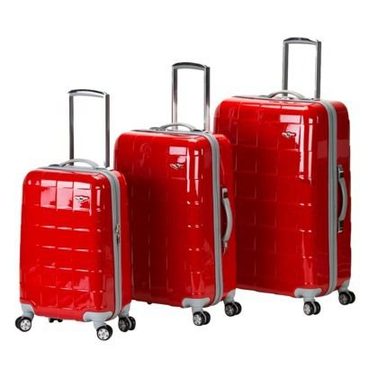 Rockland Celebrity 3-pc. Hard Sided Luggage Set - Red.  Spinner wheels and easy to spot.