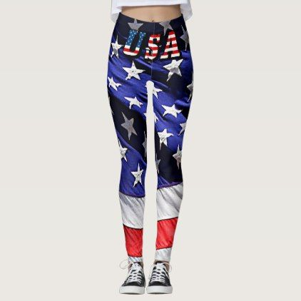 USA Flag Text with the American Flag Leggings - independence day 4th of july holiday usa patriot fourth of july