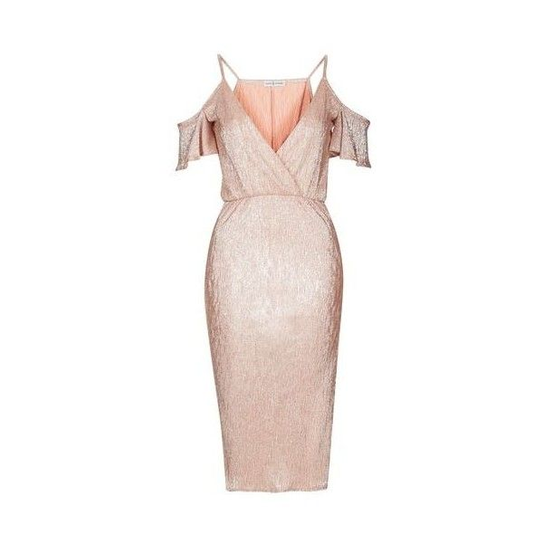 Cold Shoulder Metallic Midi Dress by Rare ($55) ❤ liked on Polyvore featuring dresses, rose gold, cut out midi dress, cut out shoulder dress, midi cocktail dress, cutout dresses and cut-out shoulder dresses