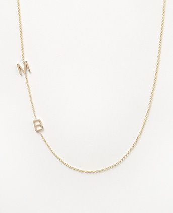 Maya Brenner double initial necklace in yellow or rose gold