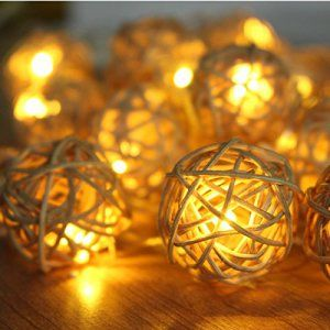 5m 20 Rattan Boule Led guirlande lumineuse pendentif noël 220V jardin location de vacances Garland guirlandes de décoration de mariage…