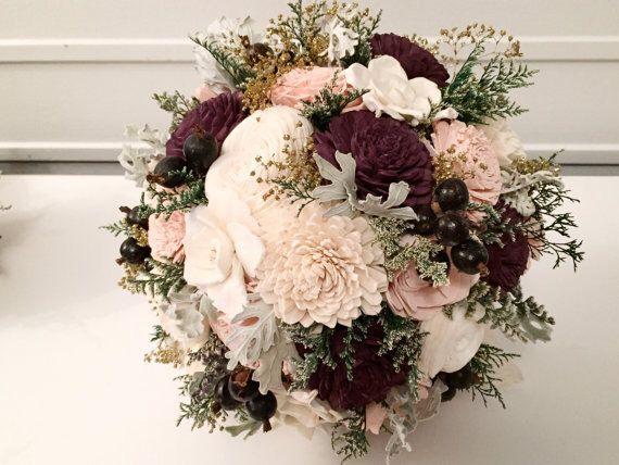 Burgundy and Blush Wedding Bouquet - sola flowers - choose colors - bridal bouquet - Custom - Alternative bouquet - bridesmaids bouquet by SylCadle on Etsy https://www.etsy.com/listing/243955282/burgundy-and-blush-wedding-bouquet-sola