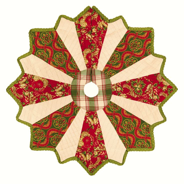 This hand-crafted 54-inch quilted tree skirt is machine washable. It is constructed from durable cotton. Accent Type: Tree Skirt Material: Cotton Season or Holiday: Christmas Setting: Indoor Color: Re                                                                                                                                                                                 More