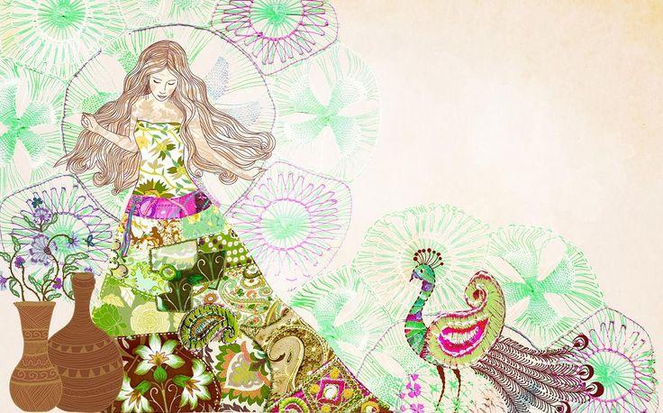 Collage para Amakanta #girl #gypsy #peacock #pavoreal #collage #tamairis