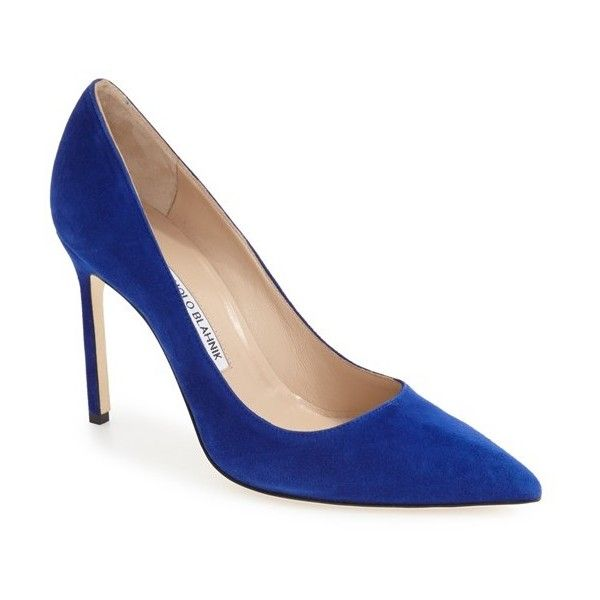 Women's Manolo Blahnik 'Bb' Pointy Toe Pump ($595) ❤ liked on Polyvore featuring shoes, pumps, electric blue suede, royal blue pumps, pointed toe pumps, royal blue stilettos, suede pointy toe pumps and royal blue shoes