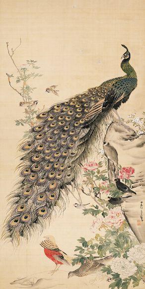 長沢蘆雪 Rosetsu Nagasawa『牡丹孔雀図』 静岡県立美術館蔵 Shizuoka Prefectural Museum of Art