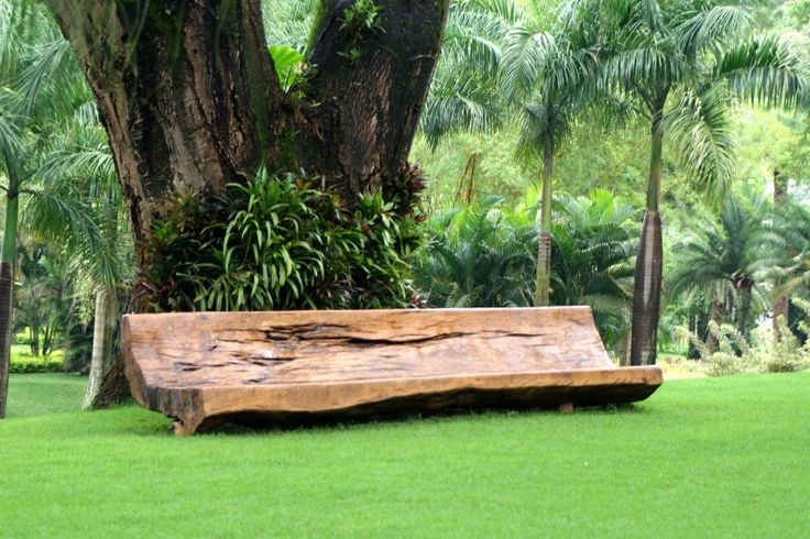 Contemporary Garden Art utilizing a carved out log of wood to create a garden bench seat