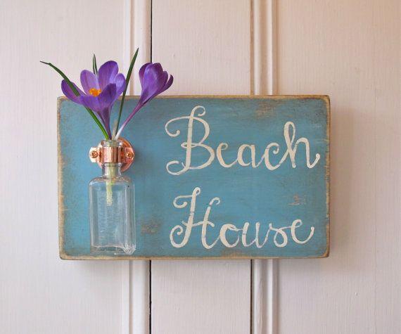 Wall Flower Vase, Antique Bottle, Beach House, Copper
