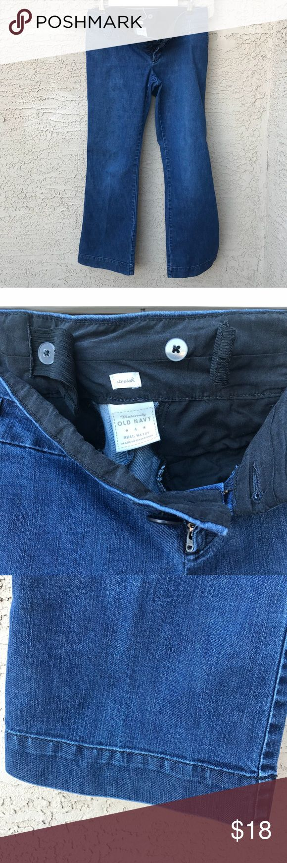 Old Navy Maternity Jeans Size 4 -Elastic + Buttons 🤰🏻Good Used Condition GUC Maternity jeans from Old Navy. Maternity Size 4 with sewn-in elastic bands that adjust to buttons. Boot-cut denim in great shape; tags and upper part in good shape. They aren't fancy but are a great basic pair of jeans during your pregnancy!🤰🏻  ************************ 🧐 Inspect photos ❓Ask questions  👗👗Create bundles 📷 Photo props not included 🚫Smoke-free, Pet-free 🌮Thanks for lookin'!  © 2018 YUNADEE…