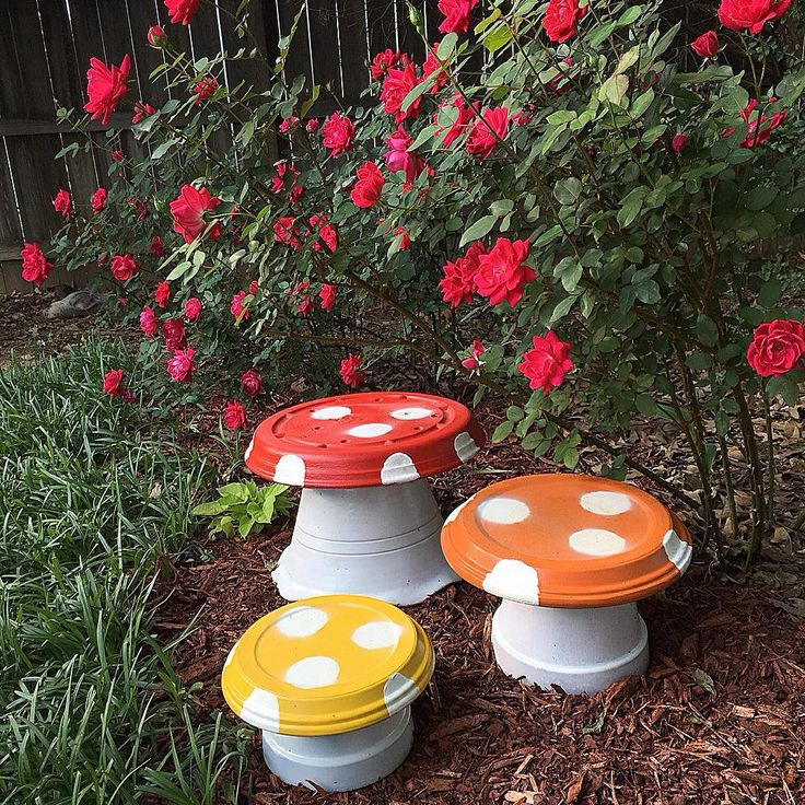 "AFTER: Project Mushroom is complete!! A cheap and easy way to add outside decor without having to buy retail  People throw away flower pots all of the time. When I see ""junk"" in my back yard, I try to find a way to repurpose it. I am working on another idea that I will show you all later  Thanks for looking and playing along!! xx ♻️♻️ #reduce #reuse #recyle #repurpose #outsidedecor #mushroom #mybackyard #myhappyplace"