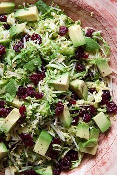 shaved Brussels sprouts salad with avocado and dried cranberries