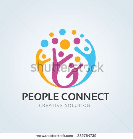 People connect logo,communication logo,family logo,vector logo template - stock vector