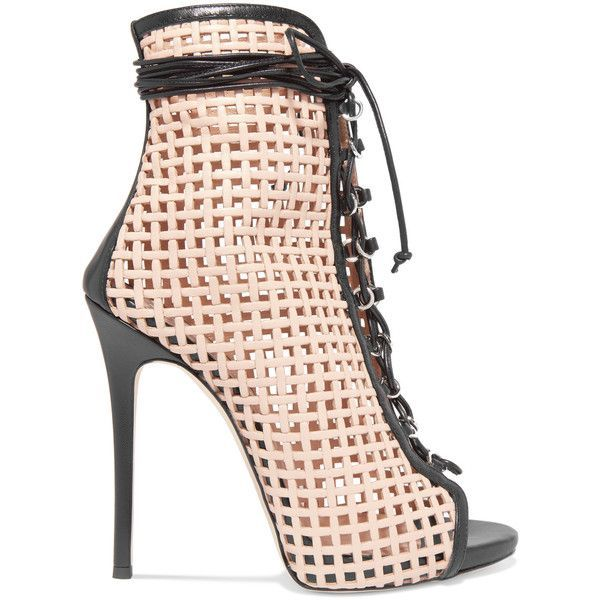 Giuseppe Zanotti Laser-cut leather ankle boots (€700) ❤ liked on Polyvore featuring shoes, boots, ankle booties, heels, heeled ankle boots, leather booties, laced up heel boots, leather lace up booties and ankle boots #laceuphighheelboots