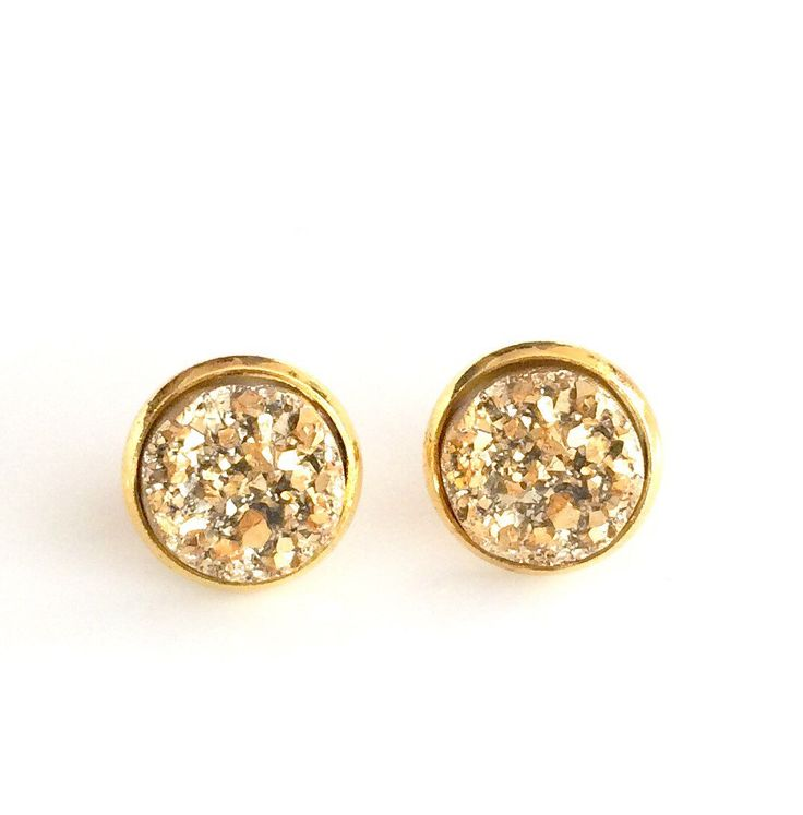 Gold Druzy Gold plated stud earrings - 12 mm inner tray - Faux Druzy Stud Earrings - gold stud earrings , bridesmaid gift Canada by AnisasClayCreations on Etsy https://www.etsy.com/ca/listing/453027034/gold-druzy-gold-plated-stud-earrings-12