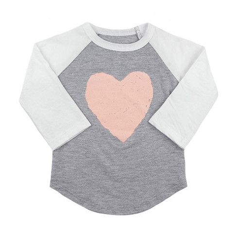 Ball Tee with Heart Print - mini mioche - organic infant clothing and kids clothes - made in Canada