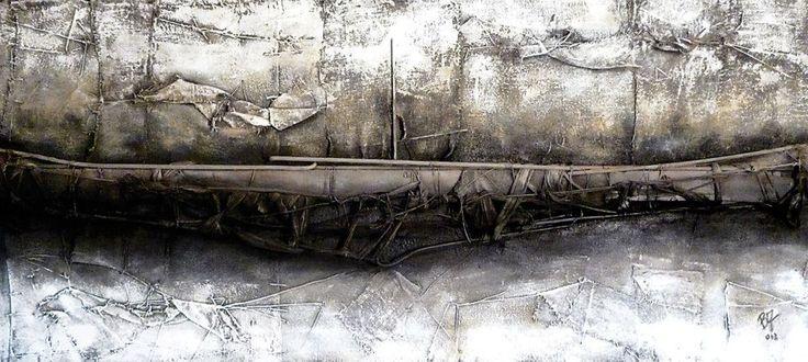 Beppo Zuccheri www.beppozuccheri.com -Argos' wreck on a dry River- 2013 Cm 90x200 / T. Mixed on Canvas