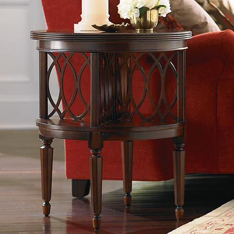 Rich medium wooden round accent end and side tablewoodberry round book table by bassett