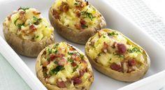 Γεμιστές πατάτες με τυρί και μπέικον